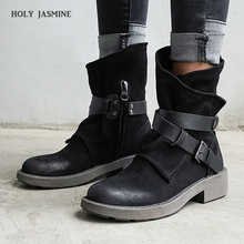 2020 New Women Ankle Boots Autumn Winter Round Toe Vintage Genuine Leather Ladies Shoes Low Heel Western Boots Plus Size shoes allbitefo plus size 34 42 genuine leather pointed toe low heeled women boots fashion brand thick heel ankle boots girls boots