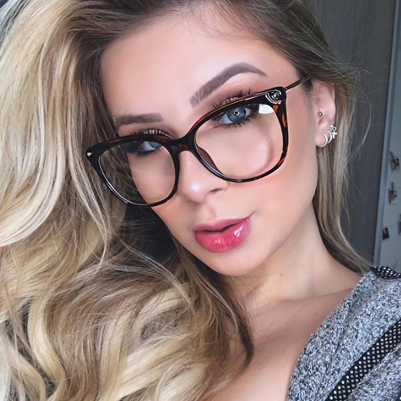 Fashion Square  Anti-Blue Glasses Women Relieve Eye Fatigue Cell Phone & Computer Goggles Ultralight Optical Eyeglasses Frame