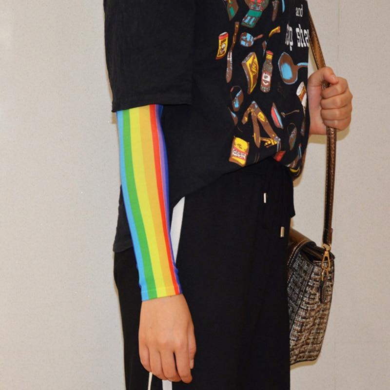 2Pcs Rainbow Arm Sleeves Sports Sleeve Sun UV Protection Hand Cover Cooling Running Fishing Cycling Ski Mangas Para Brazo