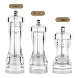 Acrylic Combo Pepper Mill and Salt Shaker with Adjustable Coarseness And Ceramic Mechanism, Easy to Use