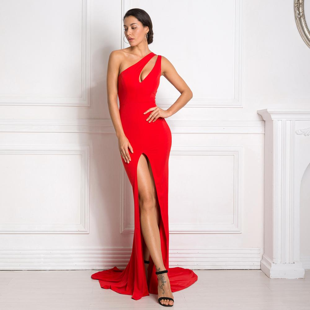 Sexy RED One Shoulder Asymmetric Maxi Dress Hole Out Party Dress Stretch Split Front Bodycon Backless Floor Length Dress