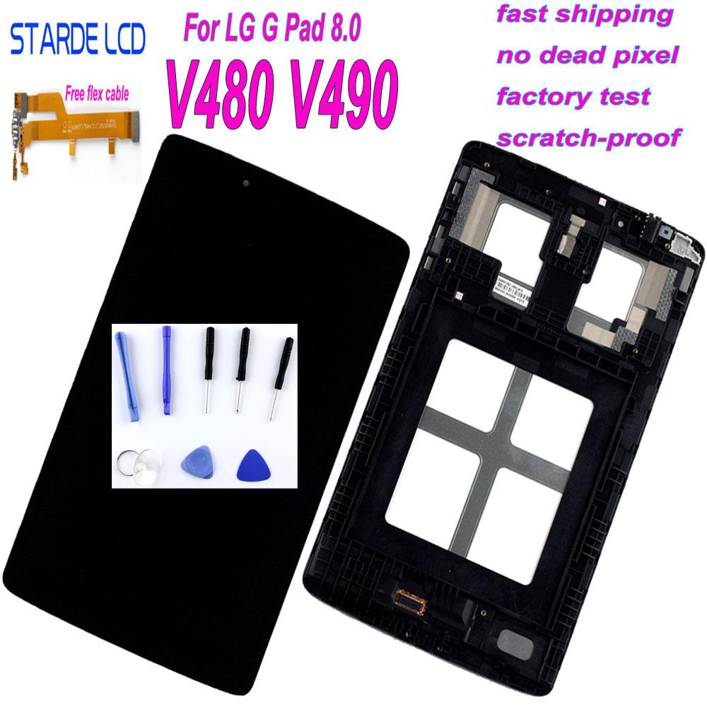 Starde LCD For LG G Pad 8.0 V480 V490 LCD Display Touch Screen Digitizer Assembly With Frame Replacement With Free Flex Cable