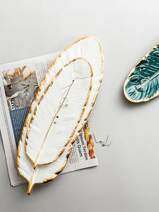 Tableware-Accessories Jewelry-Tray Ceramic-Plate-Set Dining-Dish Gold-Plating Kitchen