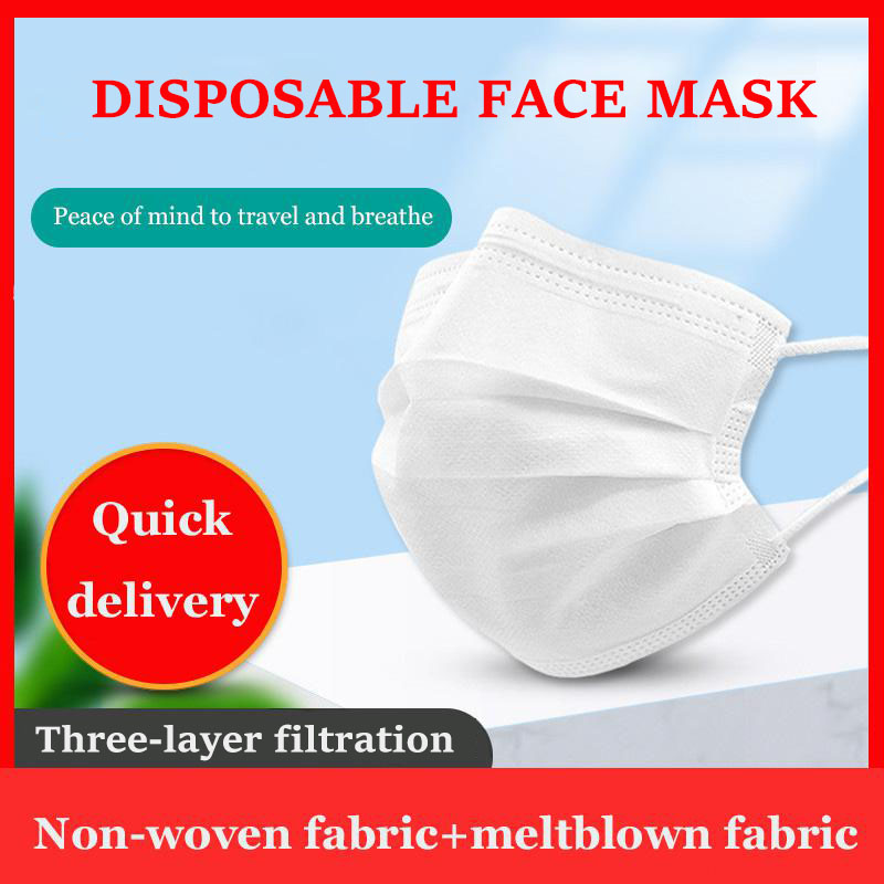50pcs Disposable Face Mouth Mask Adult White 3-layers Filter Mouth Masks Non-woven Ear Loop Anti-Dust Masks Fast Shipping