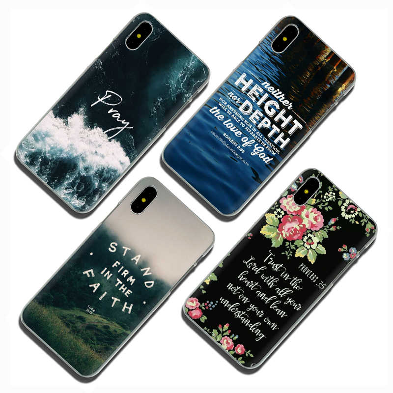 """EWAU התנ""""ך פסוק ישו המשיח הנוצרי סיליקון Mattle טלפון כיסוי מקרה עבור iphone 5 5S SE 6 6s 7 8 בתוספת X XR XS מקסימום 11 Pro מקסימום"""