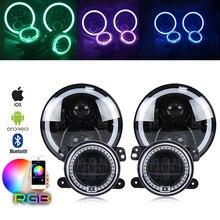 Marlaa RGB 7 인치 LED 헤드 라이트 + 4 인치 30W Led 안개등, RGB Halo Ring DRL, 지프 랭글러 용 JK LJ CJ Hummer H1 H2