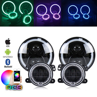 Marlaa RGB 7Inch LED Headlights + 4 Inch 30W Led Fog Lights with RGB Halo Ring DRL For Jeep Wrangler JK LJ CJ Hummer H1 H2