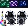 Marlaa RGB 7 بوصة LED المصابيح الأمامية 4 بوصة 30 واط Led أضواء الضباب مع RGB خاتم على شكل هالة DRL ل جيب رانجلر JK LJ CJ هامر H1 H2