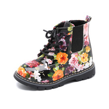 Little Baby Girls Children Leather Boots Kids Flower Print Martin Shoes 3 4 5 6 7Years Old