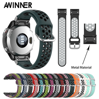 26 22 20mm Watchband for Garmin Fenix 6X 6 6S Plus 3 3 HR Forerunner 935 Watch Quick Release Silicone Easy fit Wrist Band Strap stainless steel watch band 26mm for garmin fenix 3 hr butterfly clasp strap wrist loop belt bracelet silver spring bar