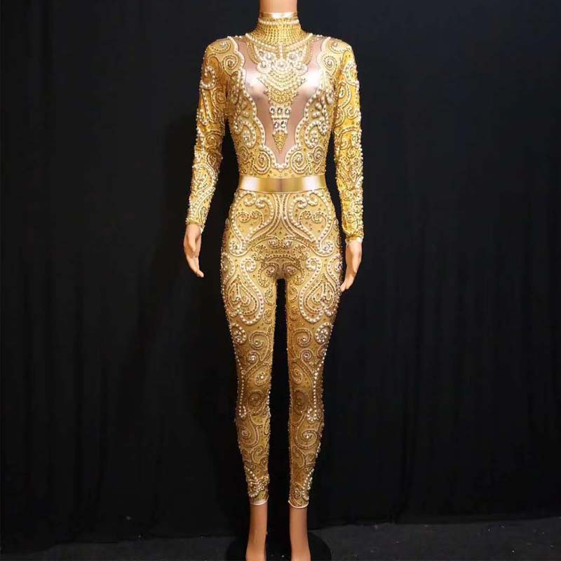 Sparkly Rhinestones Pearls Jumpsuit Jaze Dance Costume Sexy Nude Stretch Beading Dance Costume Bodysuit Birthday Party Outfit