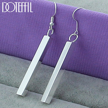 DOTEFFIL 925 Sterling Silver Square Pillar Drop Earrings Women Girl's/Lady's Wedding Engagement Party Jewelry