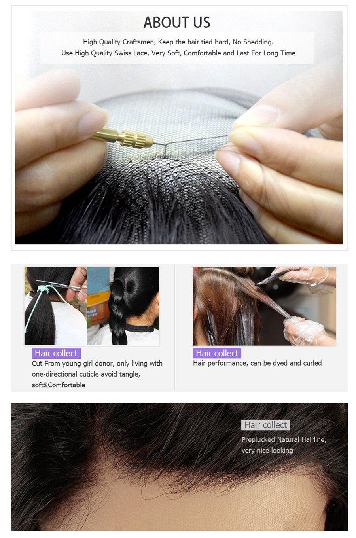 13x6 perucas do cabelo humano da parte