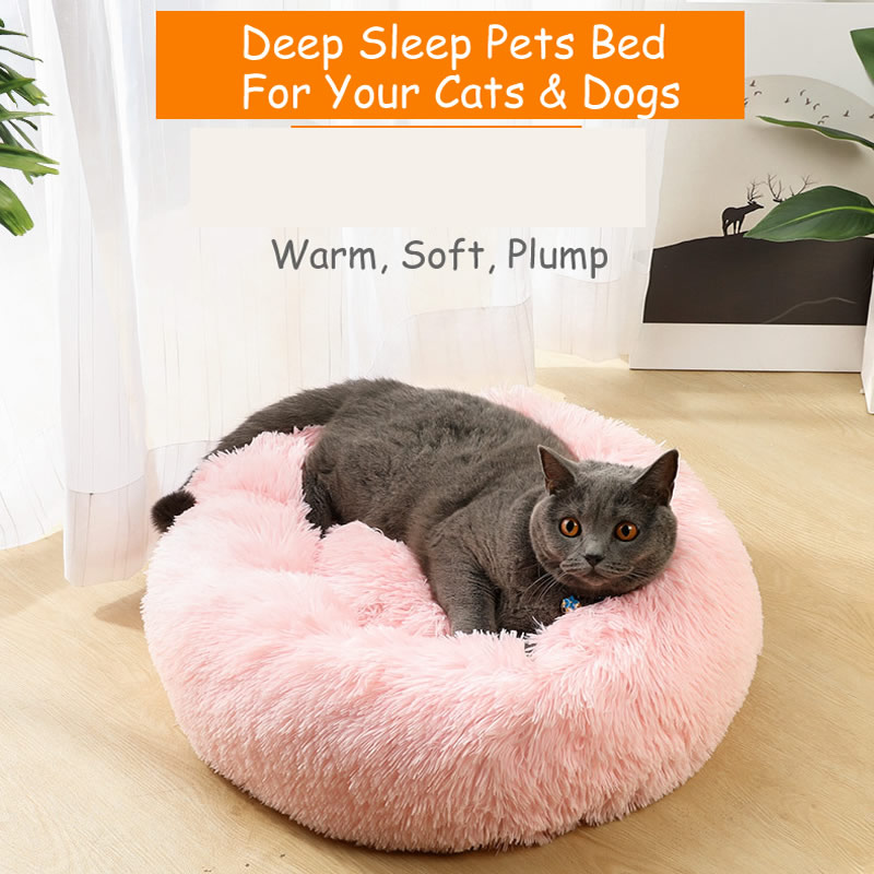Long Plush Soft Pet <font><b>Cat</b></font> <font><b>Bed</b></font> <font><b>House</b></font> Mats for <font><b>Cats</b></font> Dogs Calming Sleeping marshmallow Luxury Round Donut Sofa Cushion Dropshipping image