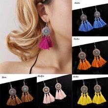 New Boho Style Big Circle Drop Tassel Earrings For Women Bohemia Ethnic Jewelry Cotton Silk Fringe red blue Long Dangle Earrings цена