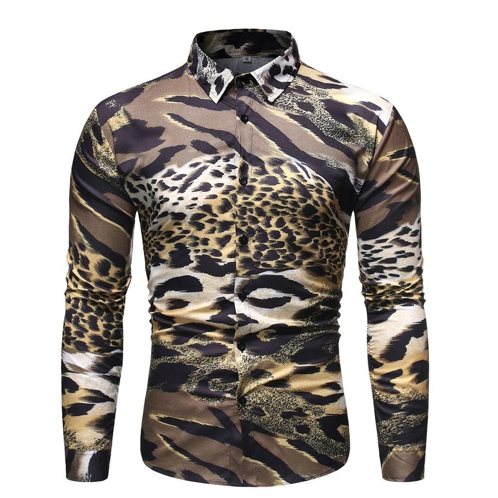 Men's Autumn New Casual Fashion Leopard Slim Lapel Long Sleeve Shirt Tops Blouse Men's Shirts Winter Fashion Purchasing 2019