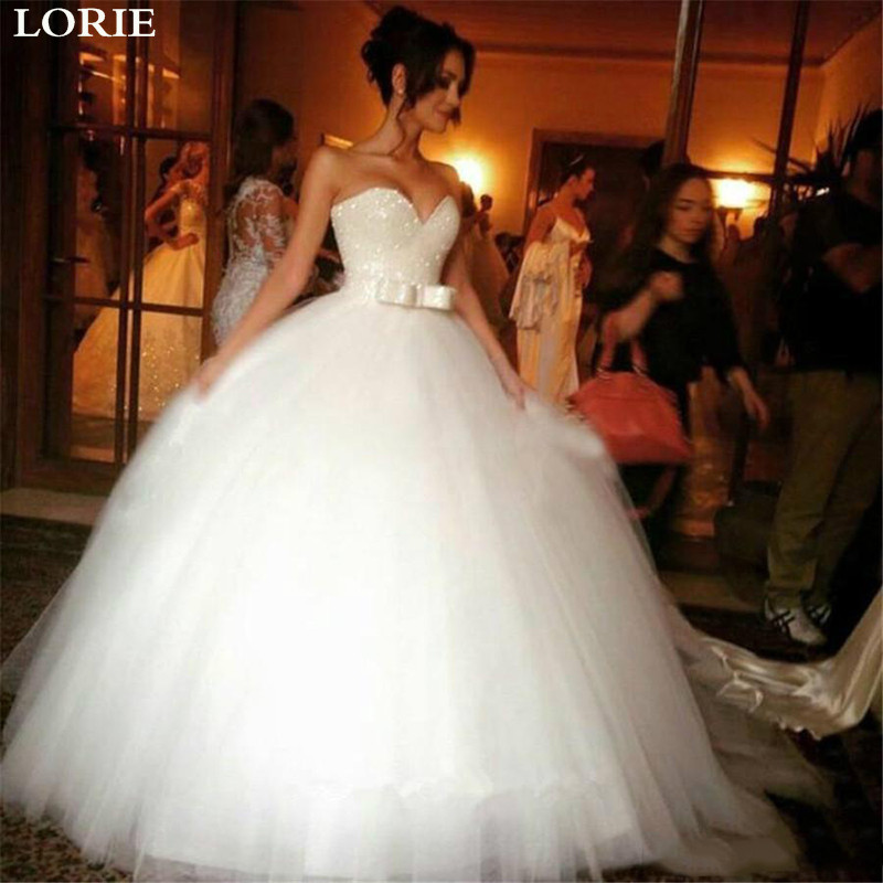 LORIE Princess Wedding Dresses 2020 Beaded Strapless Ball Gown Bride Dress Vestidos De Novia For Women