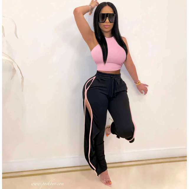 2020 Women 2 Piece Set Sexy Off The Shoulder Tops and Long Trousers Woman Pants Two Pieces Solid Outfits 3