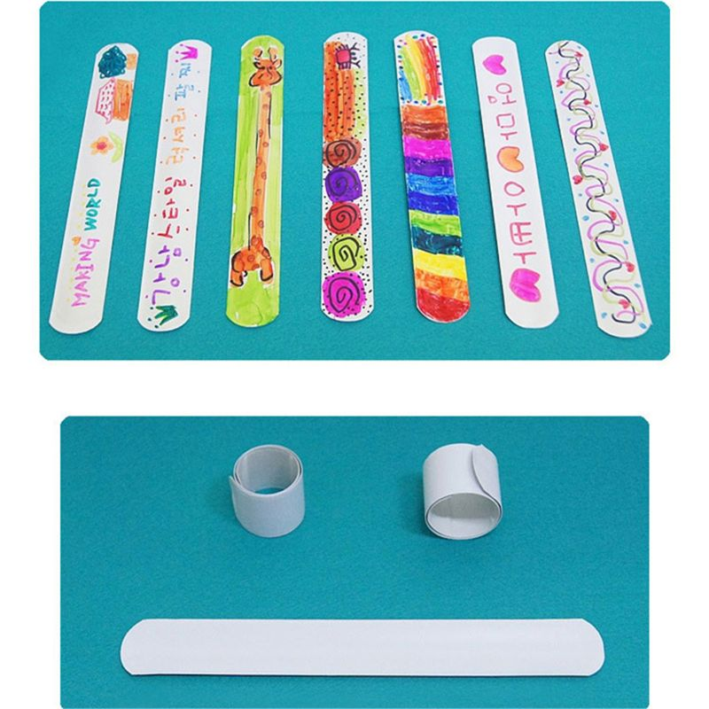 12 Pcs DIY Blank Slap Bracelets Party Favors Easter Gifts For Kids Art Craft P31B