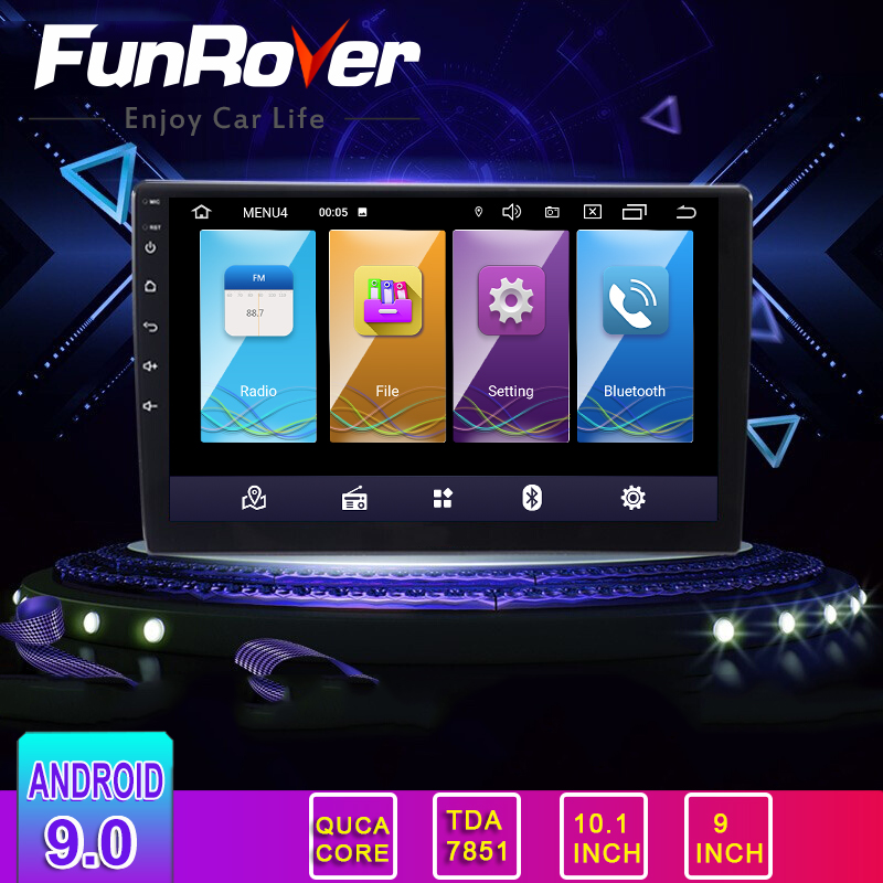 Funrover 2 Din <font><b>Android</b></font> 9.0 2.5D+IPS for 9/10 inch <font><b>universal</b></font> Car multimedia <font><b>Radio</b></font> stereo car <font><b>radio</b></font> DVD Player GPS navigation rds image