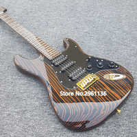 2019 High quality electric guitar,Zebra wood body and neck,With Golden Hardware,Custom s-t electric guitar, free shipping
