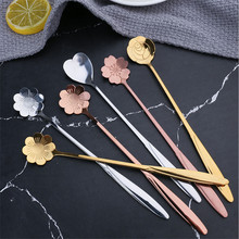 Tableware Teaspoons Dessert Mixing-Spoon Coffee Flowers-Design Stainless-Steel Vintage