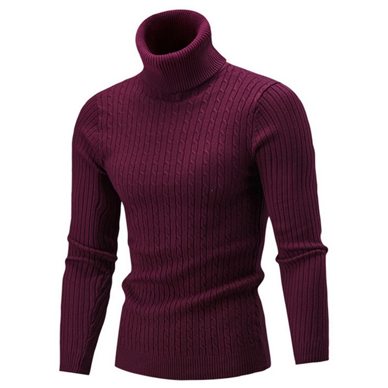 2019 Autumn Winter Men's Sweater Men's Turtleneck Solid Color Casual Sweaters Men's Slim Fit Brand Warm Knit Pullovers