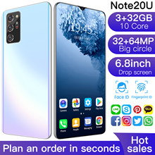 Latest Smartphone Note 20U 6.8 Inch HD Screen Smart phones Android 10.0 3GB RAM 32GB ROM Unlocked Dual Sim Mobile Phones