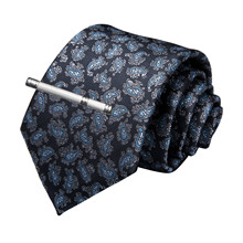New Designer Quality Men Necktie Navy Blue Paisley Silk Wedding Tie For DiBanGu Hanky Cufflink Clip Set Dropshipping MJ-7204