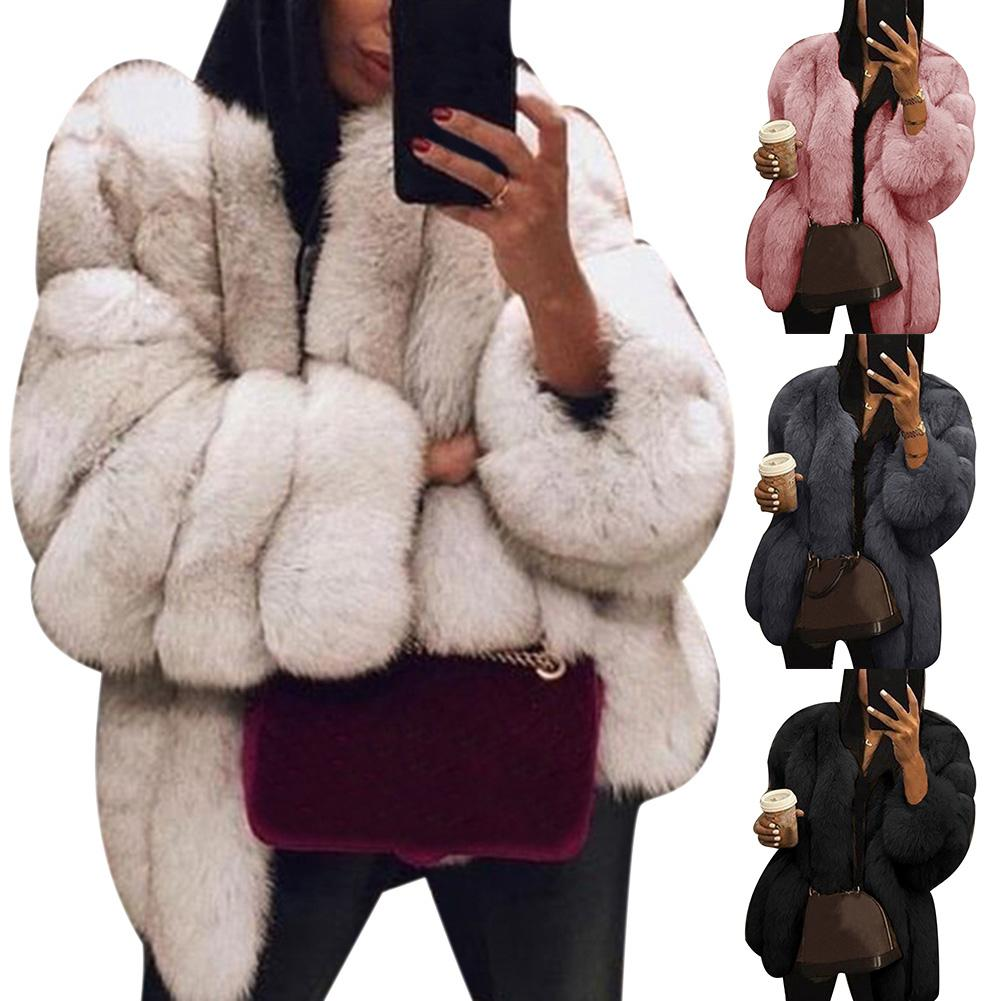 Women Casual Jacket Plus Size Short Faux Fur Coat Warm Furry Jacket Long Sleeve Outerwear Autumn Winter Loose Overcoat Outwear