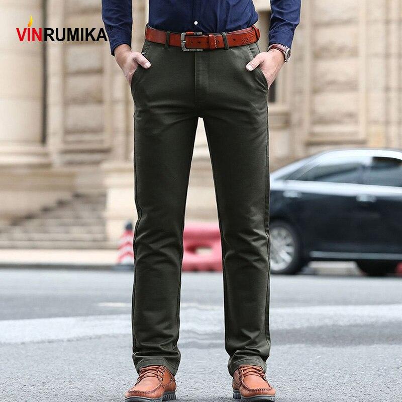 Large Size 29-42 Men's Spring Business Casual Brand Straight Pant Autumn Man Classic Cotton Black Work Pants Khaki Long Trousers