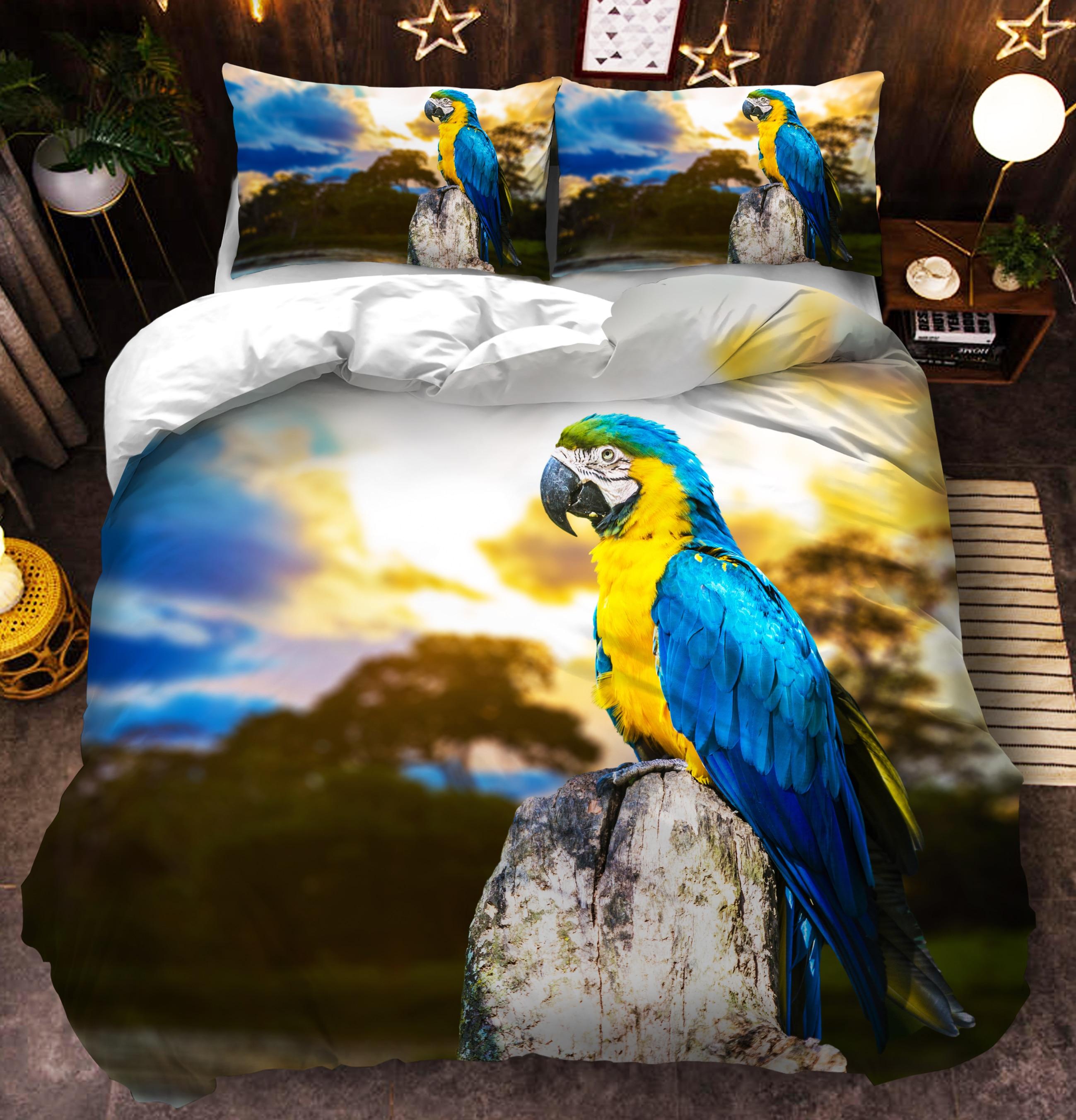 Купить комплект постельного белья с попугаем двойной полный королевский