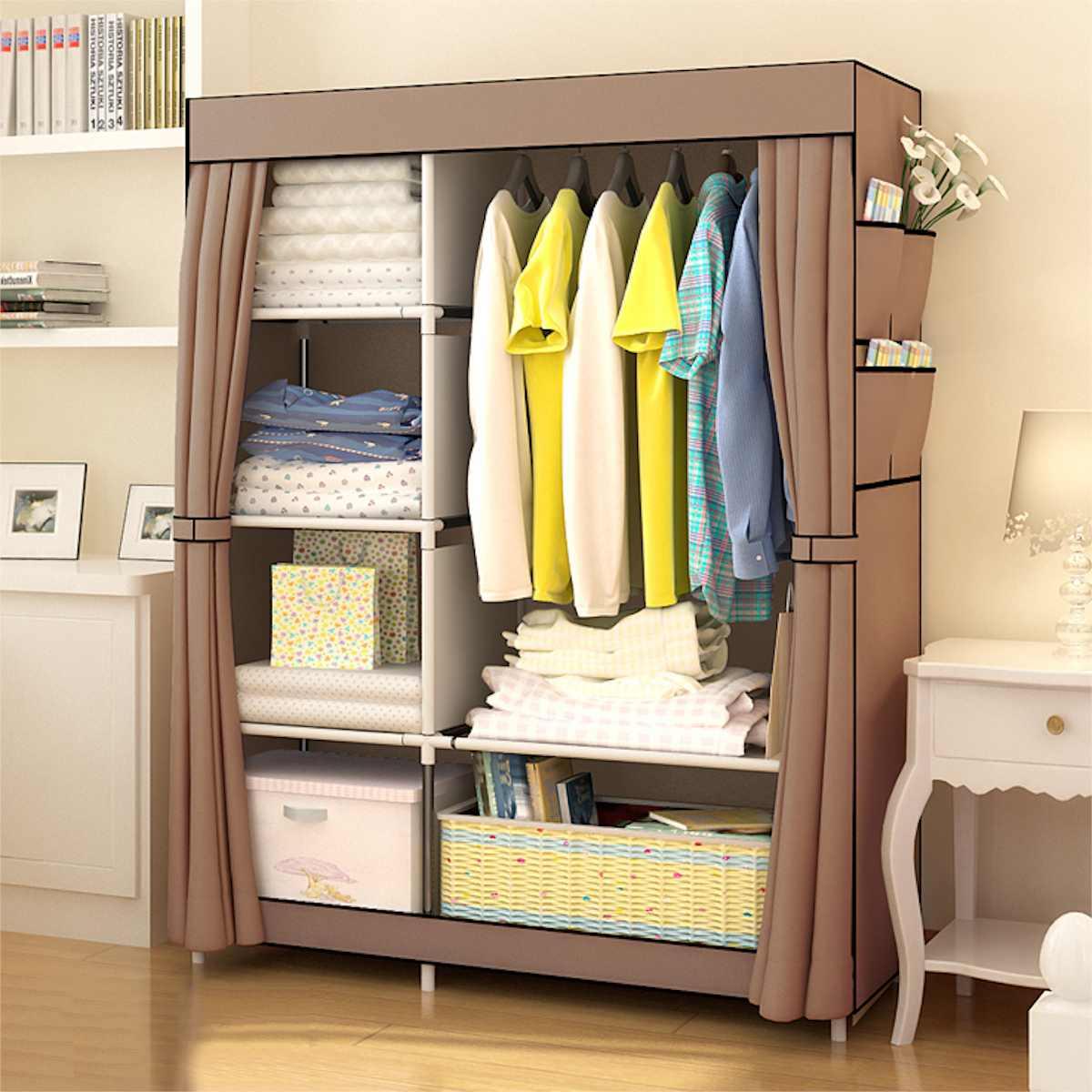New 105x45x170cm Non woven Fabric Wardrobe Rack Holder DIY Assembly Storage Cabinet Storage Organizer Shelf Home