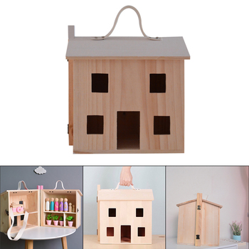 Wooden Pretend Play Doll House Toy DIY House Toy Miniature Playset Portable Dollhouse Toddler Girls Kids' Toy with Family Pets