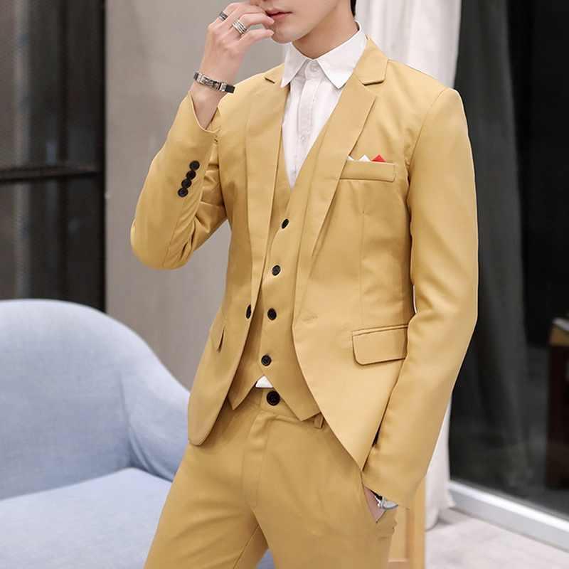 2020 Business Mannen Blazers Casual Een Knop Heren Pak Jas Lente Herfst Formele Slim Fit Suit Jassen Voor Wedding Party jas