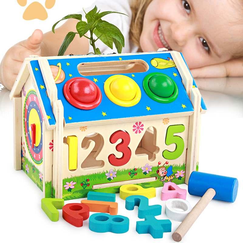 criancas de madeira bloco de brinquedo quebra cabeca casa geometria numero forma educacional montar blocos brinquedo
