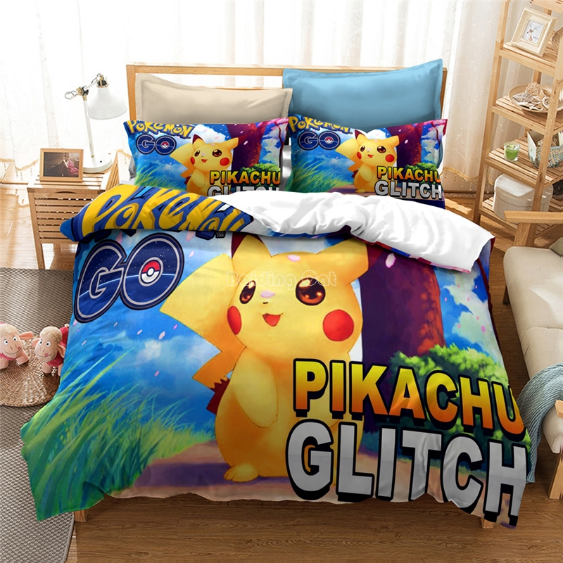 Home Textile Cartoon 3d Pikachu Bedding Set Bed Linen Pokemon Character Duvet Cover Set Children Kids Bedclothes Queen King Size