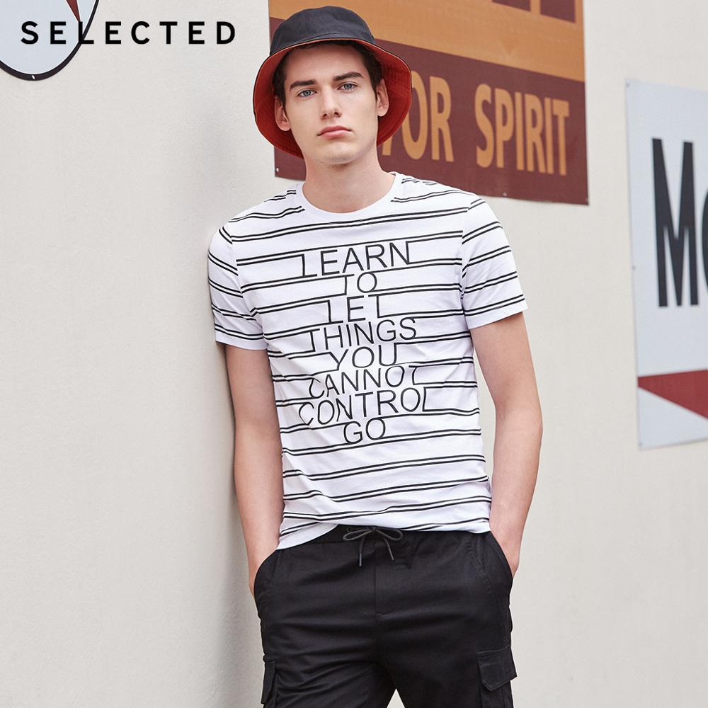 SELECTED Men's Summer 100% Cotton Striped Letter Print Short-sleeved T-shirt S|419201571
