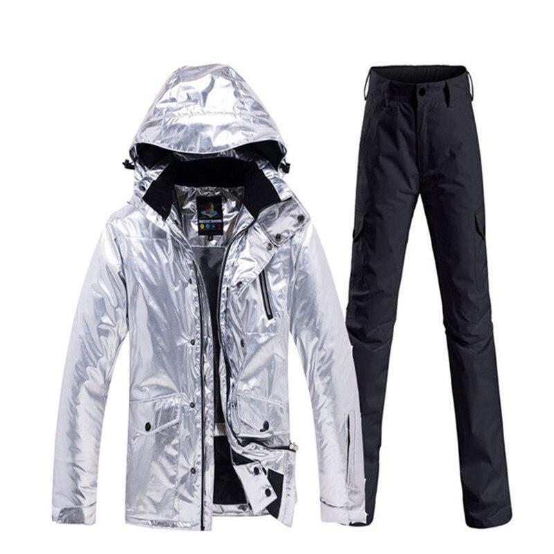 Brillant hommes et femmes neige Costume vêtements snowboard vêtements imperméable Costume sports de plein air hiver Ski veste + pantalon de neige - 6