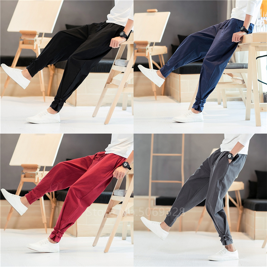 Men Pants Japanese Style Samurai Kimono Homme Clothing Cardigan Chinese Kung Fu Solid Cotton Loose Plus Bottoms Adult Trousers