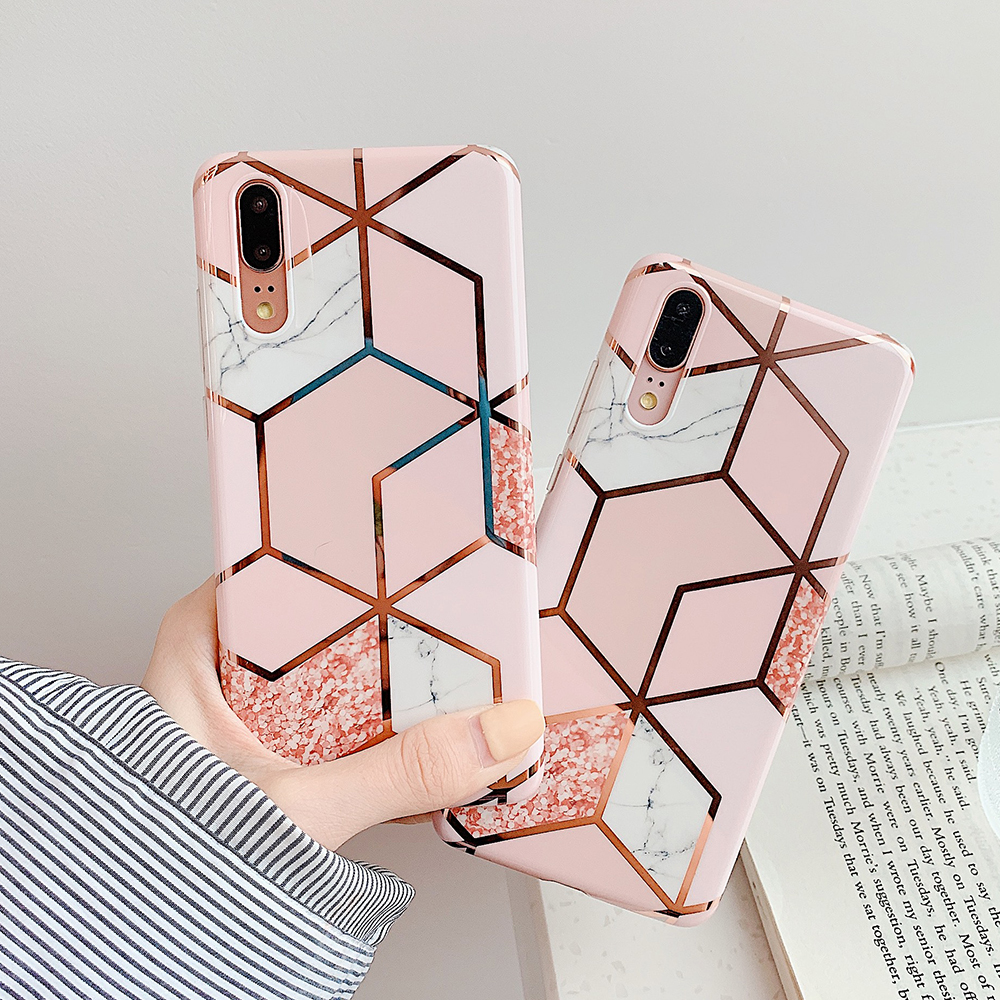 H6e809625700343c286c6ac4178daca04L - LOVECOM Plating Geometric Marble Phone Case For Huawei P40 Pro P30 P20 Lite Pro Mate 30 20 Lite Glossy Soft IMD Phone Back Cover