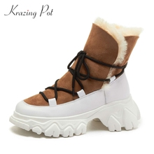 Snow-Boots Krazing-Pot High-Heel Cow-Patent Thick Classics Lady Lace-Up Ankle L78 Round-Toe