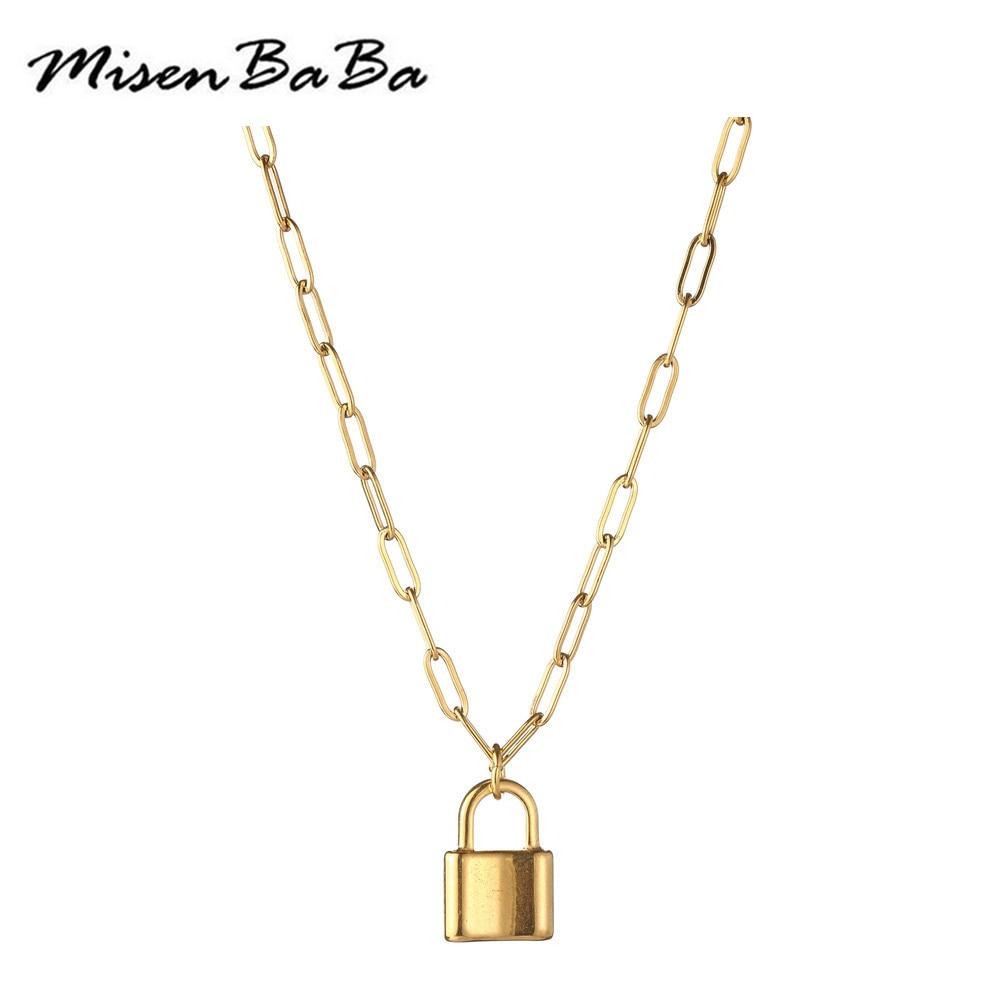 Модные ожерелья из нержавеющей стали золотого и серебряного цвета с навесным замком для женщин, панк, хип-хоп, y-образная подвеска с навесным...
