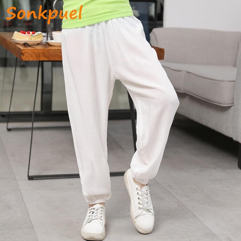 Pure Farbe Anti-Moskito Lange Schlafanzug Hosen Sommer Kinder Casual Hosen