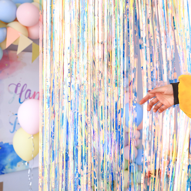 Blulu 4 Piezas de Cortina de Papel Met/álico Cortina de Fleco Cortina de Oropel Met/álico para Fiesta de Bienvenida a Beb/é Foto Props