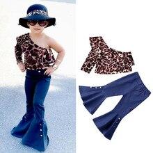 От 1 до 6 лет леопардовая футболка с длинными рукавами и оборками на одно плечо для маленьких девочек комплект с расклешенными джинсовыми штанами праздничная одежда для малышей комплект из 2 предметов