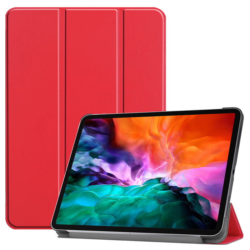 Red BLACK For iPad Pro 12 9 2021 Case PU Leather Folding Stand Hard PC Back Smart Cover