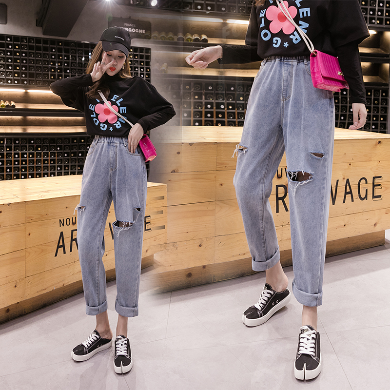 Plus Size Women Vintage Skinny Ripped Ladies High Waisted Jeans Mujer 2019 Femme Hole Loose Denim Pants Trousers Female A5615