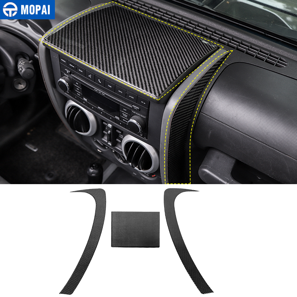 MOPAI Carbon Fiber For Car Center Console Decorative Cover Sticker Accessories For Jeep Wrangler JK 2007 2008 2009 2010