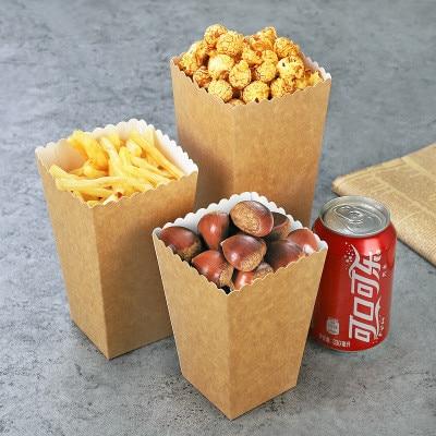 100pcs Birthday Corn  Bags Boxes Wedding Movie Party Candy Favor Paper Kraft Popcorn Pop Tableware Mini Party Sanck